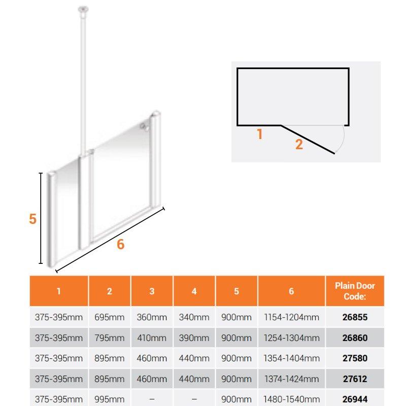 AKW Larenco Alcove Half Height Extended Shower Door 1420mm Wide - Non Handed