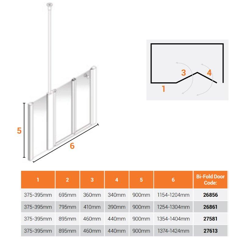 AKW Larenco Alcove Half Height Bi-Fold Extended Shower Door 1300mm Wide - Non Handed