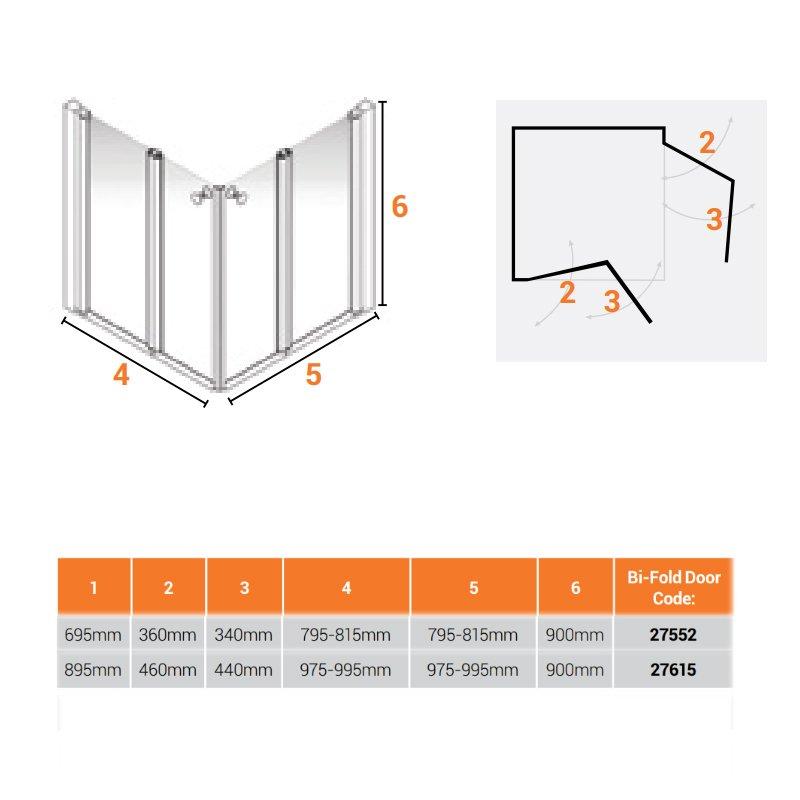 AKW Larenco Corner Care Half Height Bi-Fold Shower Door 820mm x 820mm Wide - Non Handed