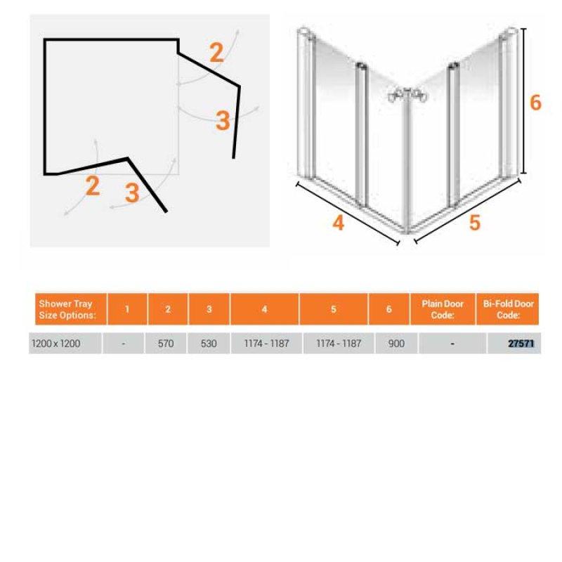 AKW Larenco Corner Care Half Height Bi-Fold Shower Door 1200mm x 1200mm Wide - Non Handed