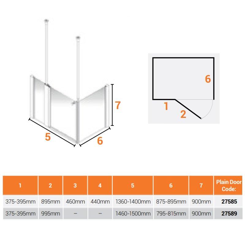 AKW Larenco Corner Care Half Height Shower Door 1500mm Wide and 820mm Side Panel - Non Handed