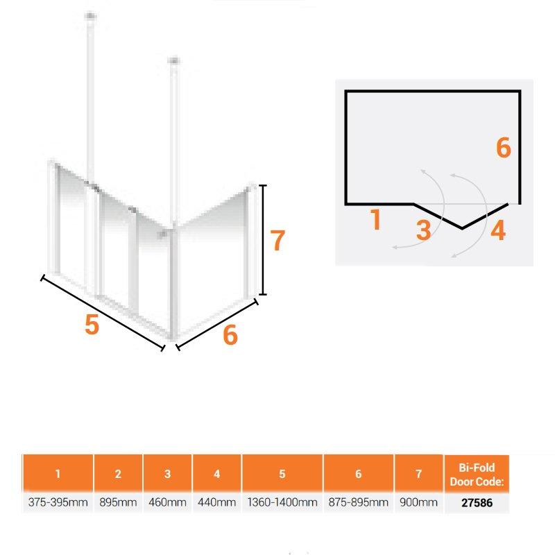 AKW Larenco Corner Care Half Height Bi-Fold Shower Door 1400mm Wide 900mm Side Panel Non Handed