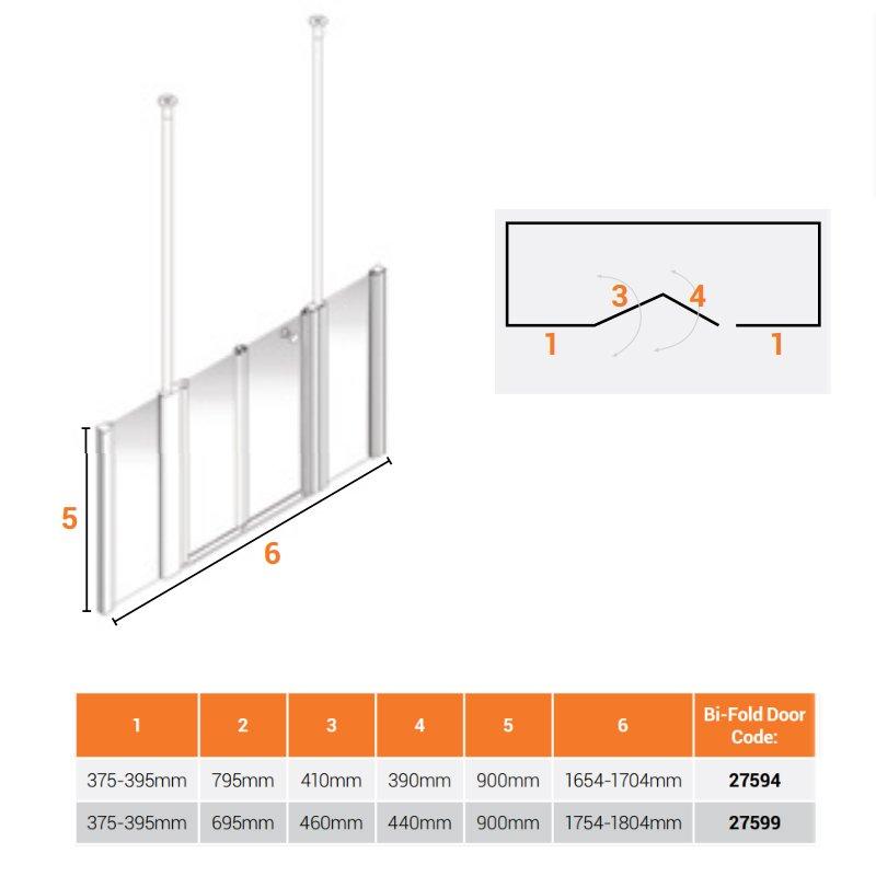 AKW Larenco Alcove Half Height Bi-Fold Extended Shower Door 1800mm Wide - Non Handed