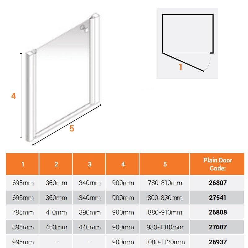 AKW Larenco Alcove Half Height Shower Door 900mm Wide - Non Handed