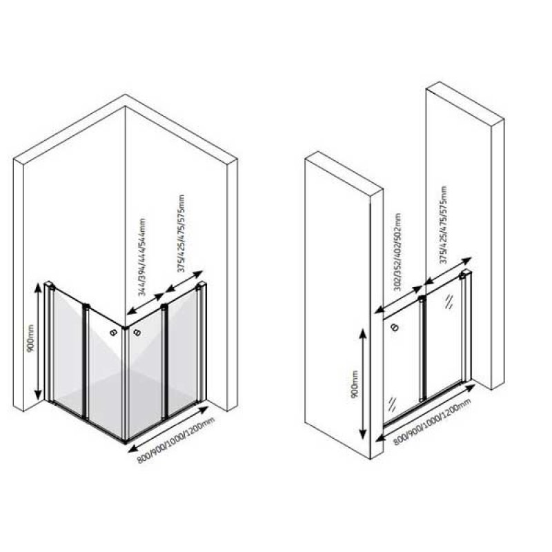 AKW Larenco Care Fixed Panel Bi-Fold Shower Door, 900mm Wide, Non-Handed
