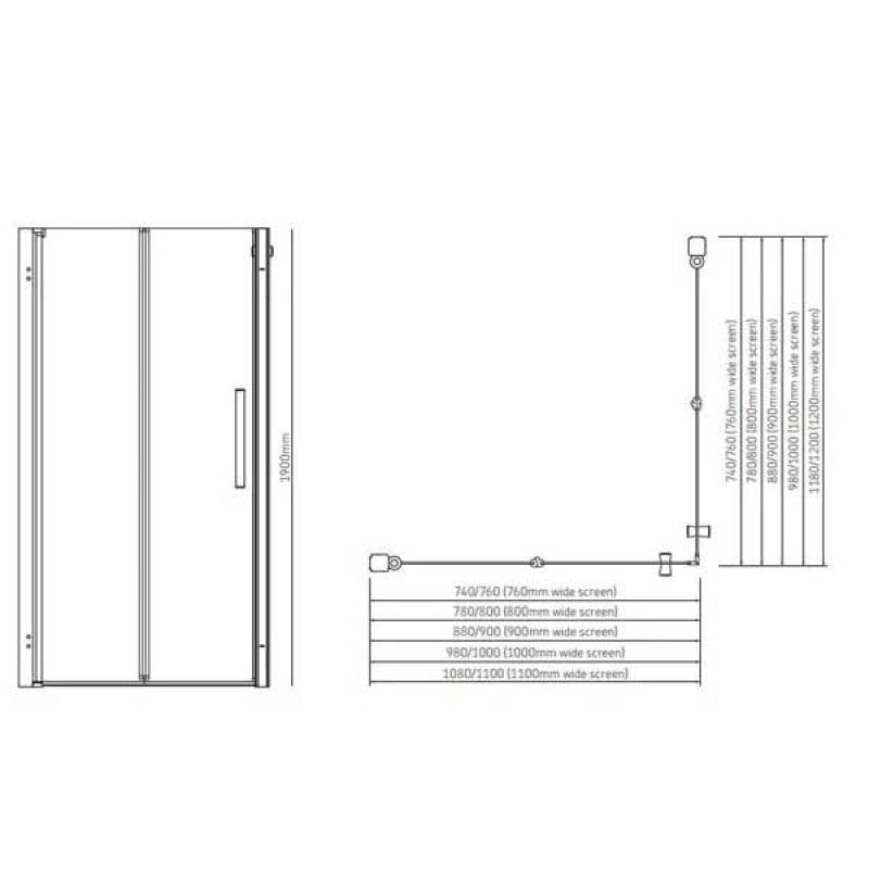 AKW Larenco Fixed Panel Bi-Fold Shower Door, 1100mm Wide, Non-Handed