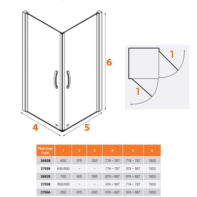 AKW Larenco Corner Entry Full Height Hinged Double Shower Door 900mm - 6mm Glass