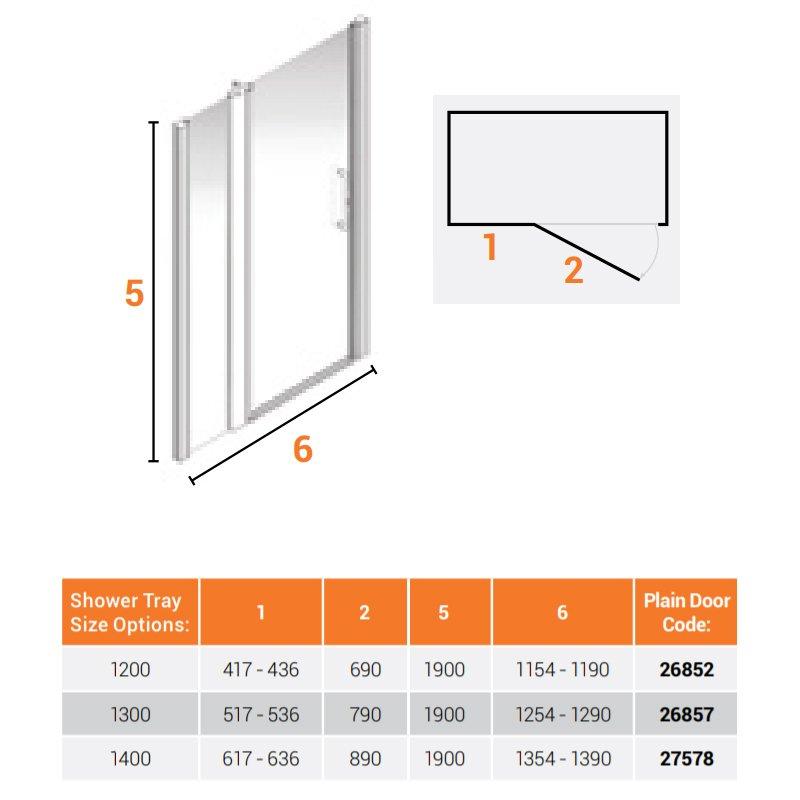AKW Larenco Alcove Full Height Extended Shower Door 1400mm Wide - Non Handed