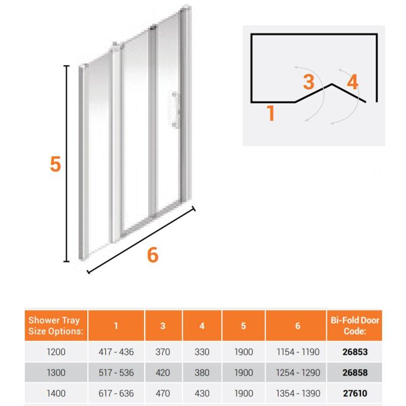 AKW Larenco Alcove Full Height Bi-Fold Extended Shower Door 1420mm Wide - Non Handed