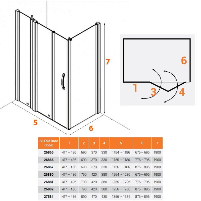 AKW Larenco Corner Full Height Bi-fold Shower Door with Side Panel 1400mm x 900mm