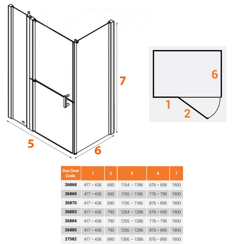 AKW Larenco Corner Full Height Duo Shower Door with Side Panel 1300mm x 800mm