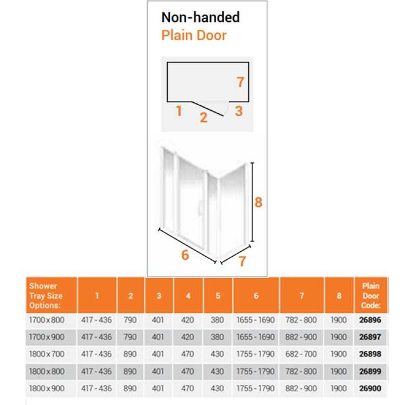 AKW Larenco Corner Full Height Hinged Shower Door with Side Panel 1800mm x 700mm