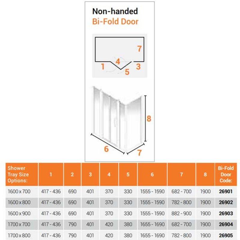 AKW Larenco Corner Full Height Bi-fold Shower Door with Side Panel 1600mm x 800mm