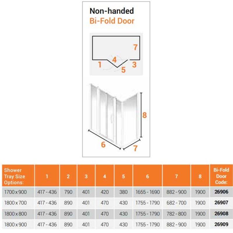 AKW Larenco Corner Full Height Bi-fold Shower Door with Side Panel 1800mm x 800mm