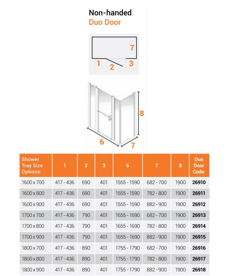 AKW Larenco Corner Full Height Duo Shower Door with Side Panel 1800mm x 900mm