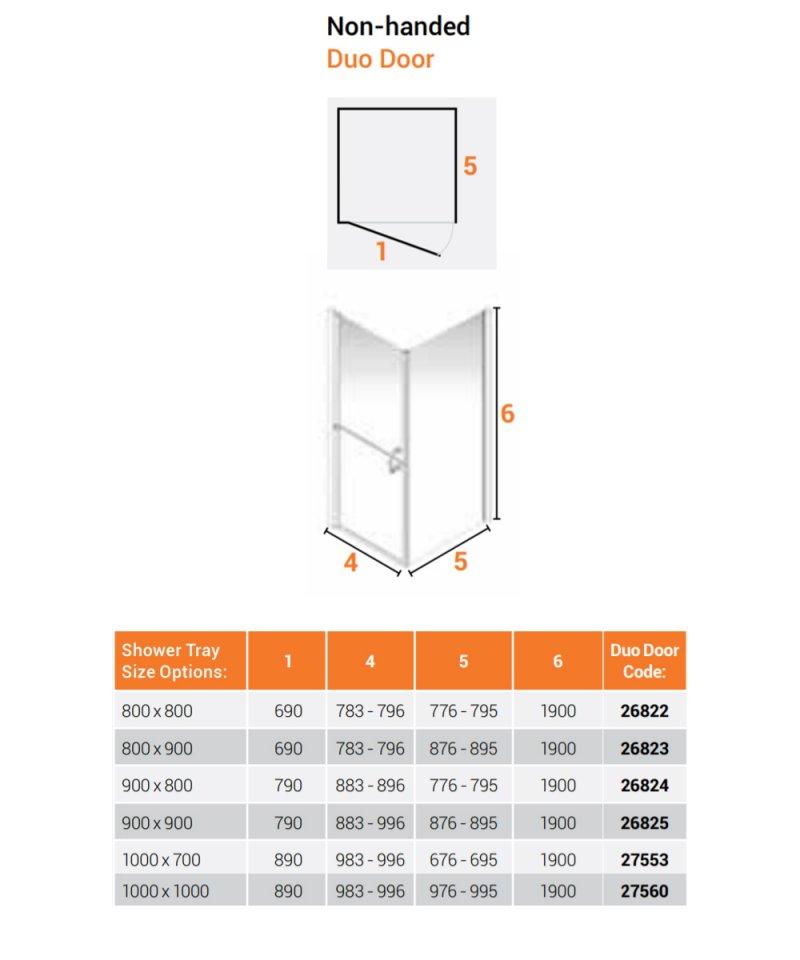 AKW Larenco Corner Full Height Duo Shower Door with Side Panel 800mm x 900mm