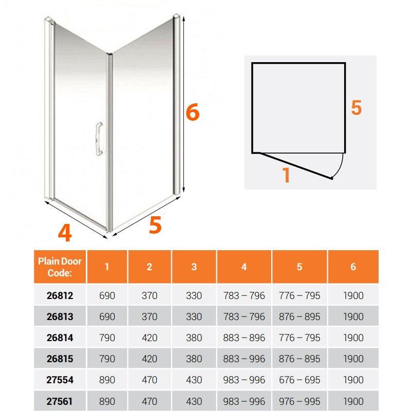 AKW Larenco Corner Full Height Hinged Shower Door with Side Panel 1000mm x 1000mm