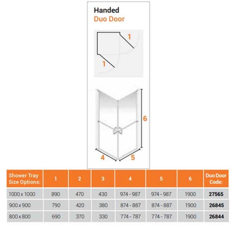 AKW Larenco Corner Entry Full Height Duo Double Hinged Shower Door 800mm x 800mm - 6mm Glass