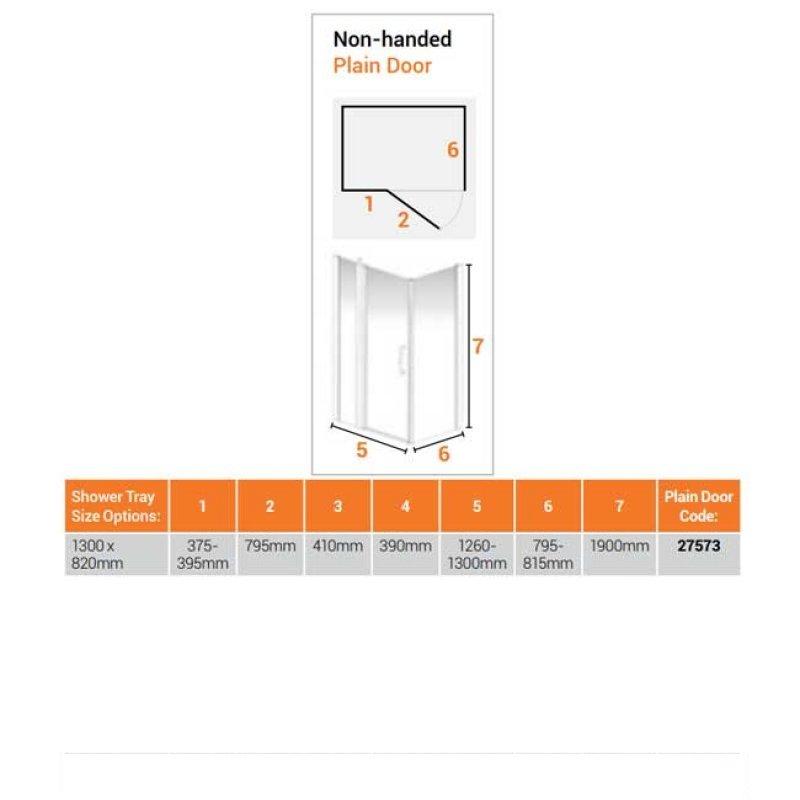 AKW Larenco Corner Full Height Hinged Shower Door with Side Panel 1300mm x 820mm