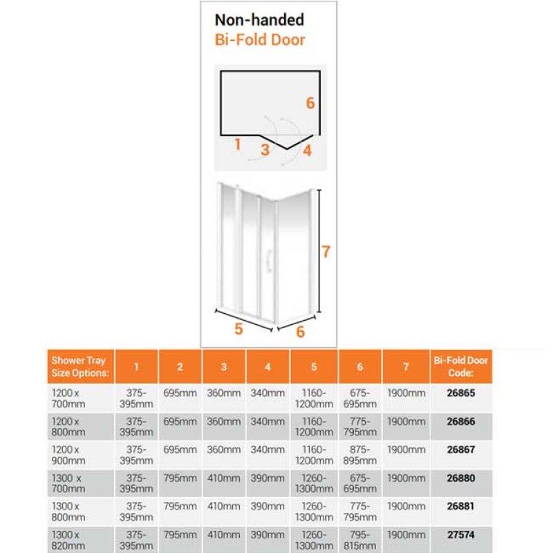 AKW Larenco Corner Full Height Bi-fold Shower Door with Side Panel 1300mm x 820mm