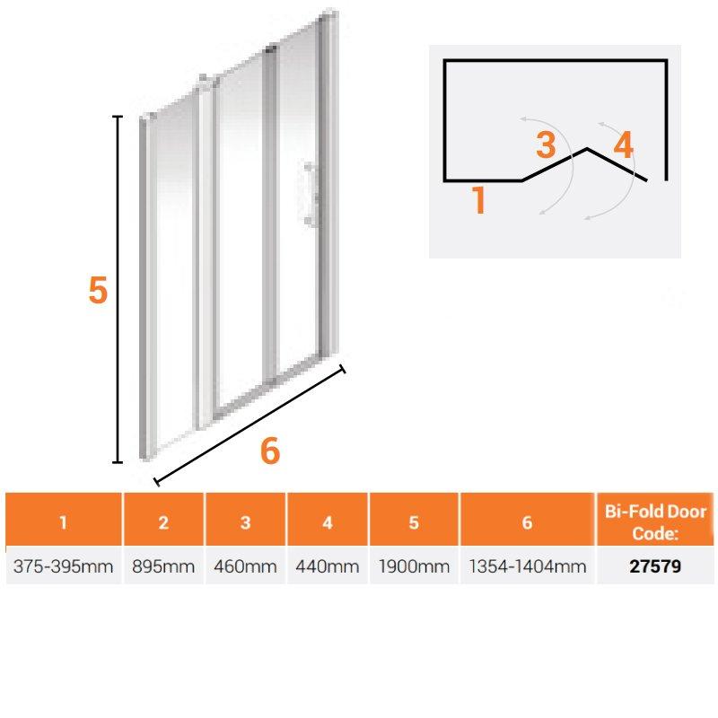 AKW Larenco Alcove Full Height Bi-Fold Extended Shower Door 1400mm Wide - Non Handed