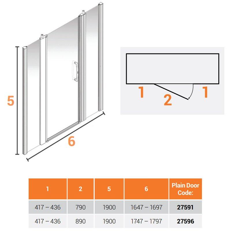 AKW Larenco Alcove Full Height Extended Shower Door 1700mm Wide - Non Handed