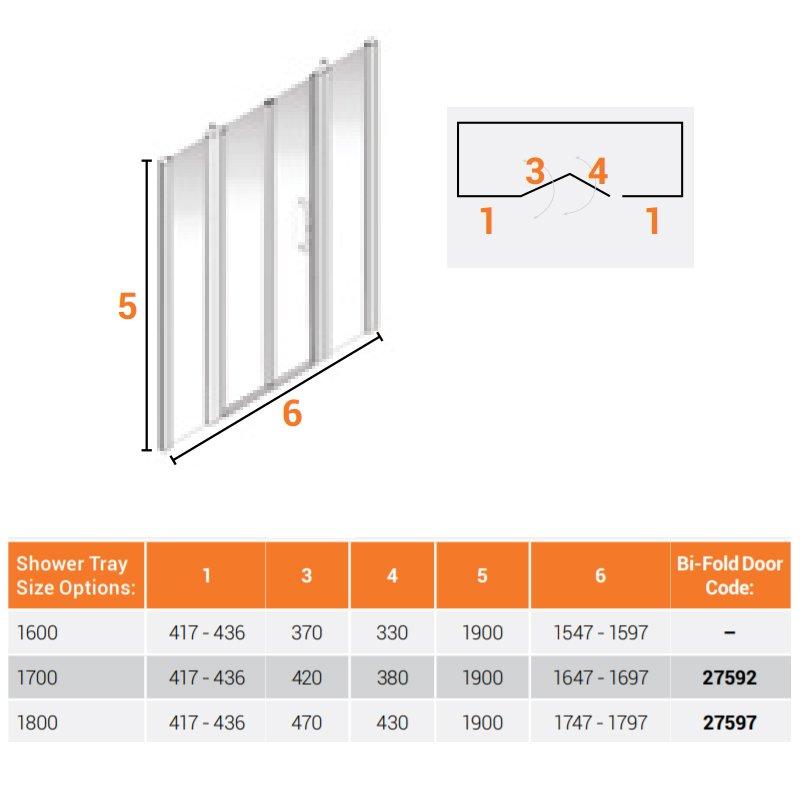 AKW Larenco Alcove Full Height Bi-Fold Extended Shower Door 1700mm Wide - Non Handed