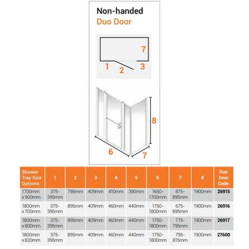 AKW Larenco Corner Full Height Duo Shower Door with Side Panel 1800mm x 820mm