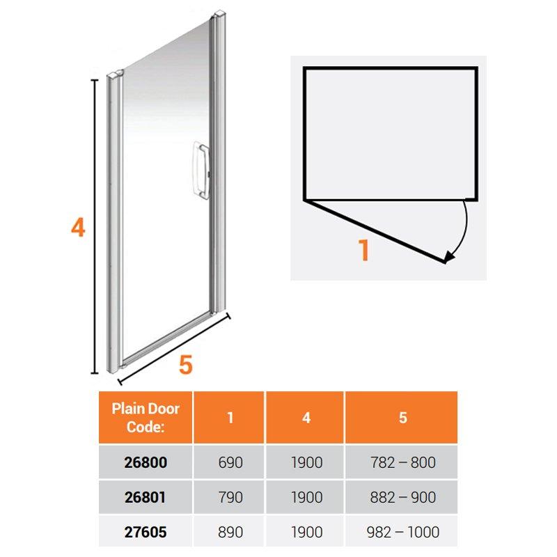 AKW Larenco Alcove Full Height Shower Door 1000mm Wide - Non Handed