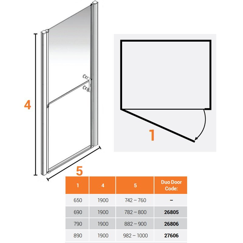 AKW Larenco Alcove Full Height Duo Shower Door 800mm Wide - Non Handed