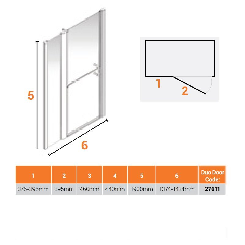 AKW Larenco Alcove Full Height Duo Extended Shower Door 1420mm Wide - Non Handed