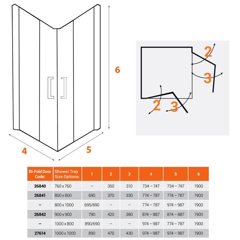 AKW Larenco Corner Entry Full Height Bi-Fold Shower Door 1000mm x 1000mm - 6mm Glass