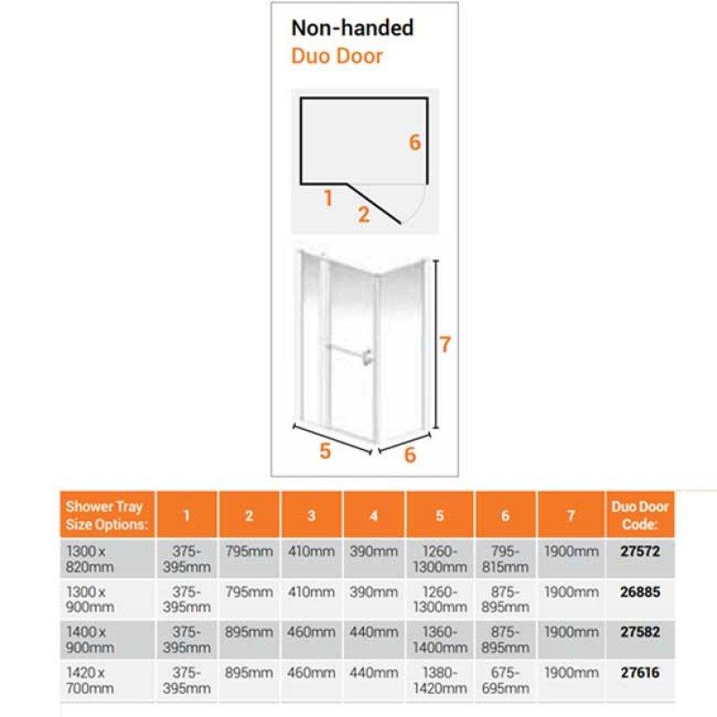 AKW Larenco Corner Full Height Duo Shower Door with Side Panel 1420mm x 700mm