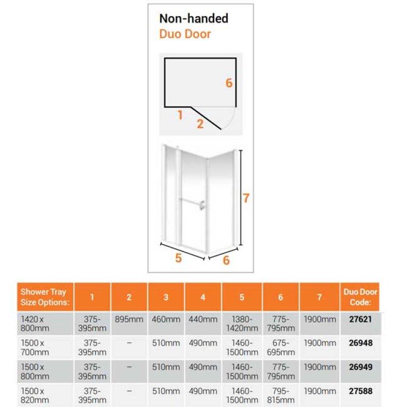 AKW Larenco Corner Full Height Duo Shower Door with Side Panel 1420mm x 800mm