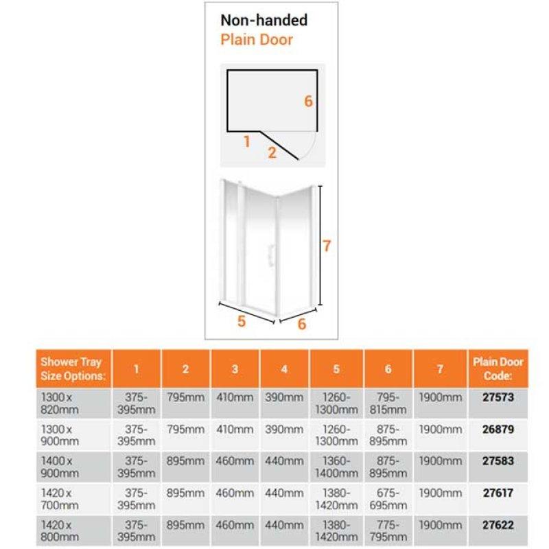 AKW Larenco Corner Full Height Hinged Shower Door with Side Panel 1420mm x 800mm