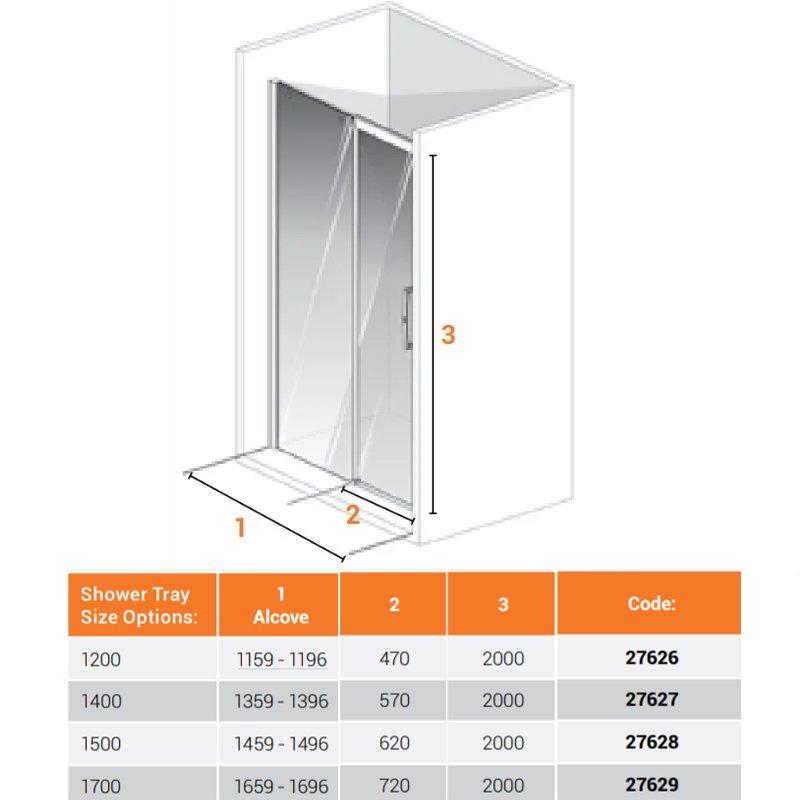 AKW Larenco Single Sliding Shower Door 1200mm Wide - Non Handed