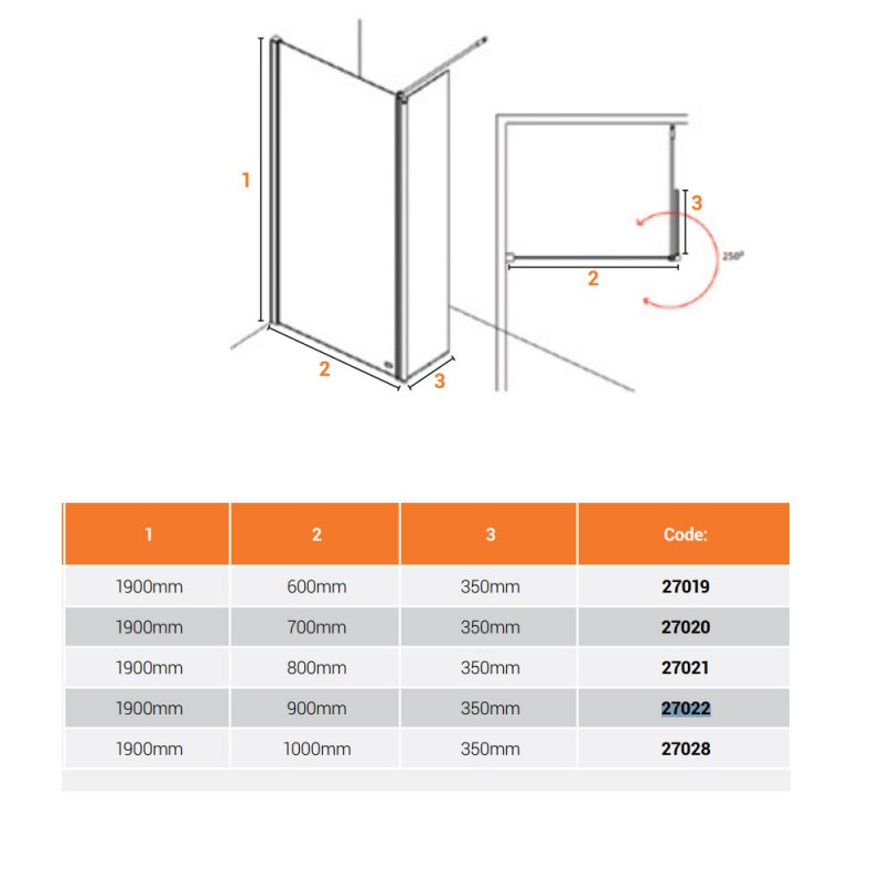 AKW Level Best Wetroom Screen 700mm W with 350mm Deflector Panel