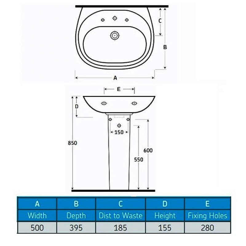 AKW Livenza 500mm Basin with Full Pedestal - 1 Tap Hole