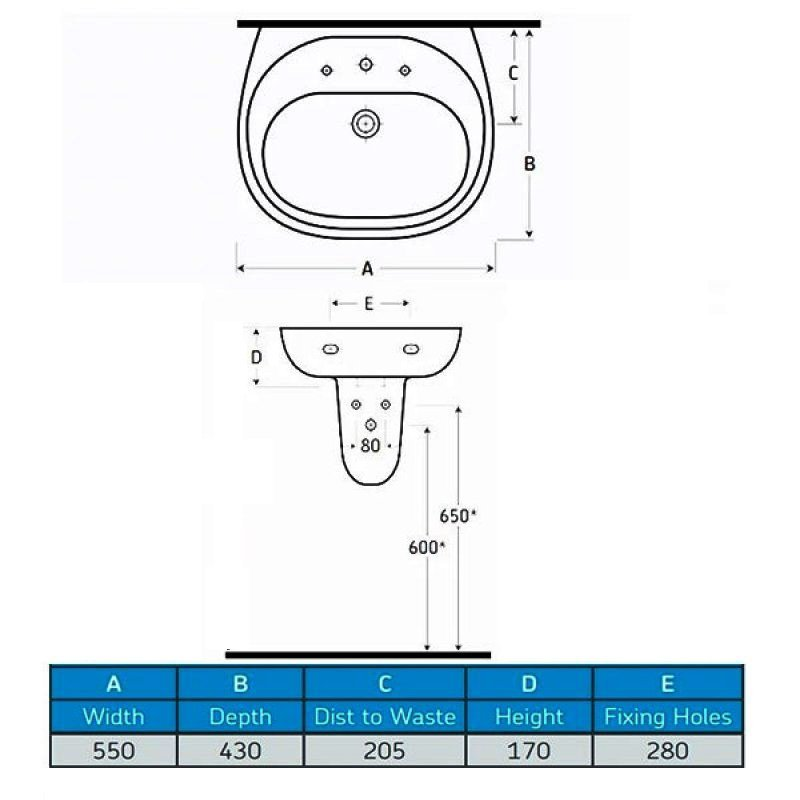 AKW Livenza 550mm Basin & Large Semi Pedestal - 1 Tap Hole