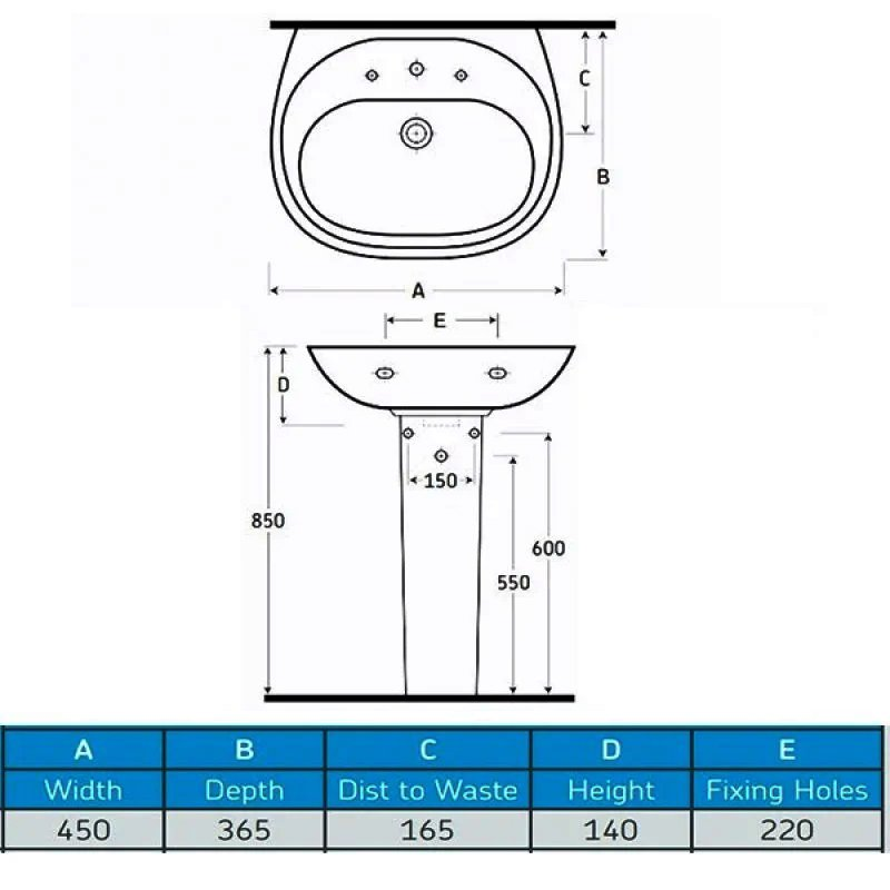 AKW Livenza 450mm Basin with Full Pedestal - 2 Tap Hole