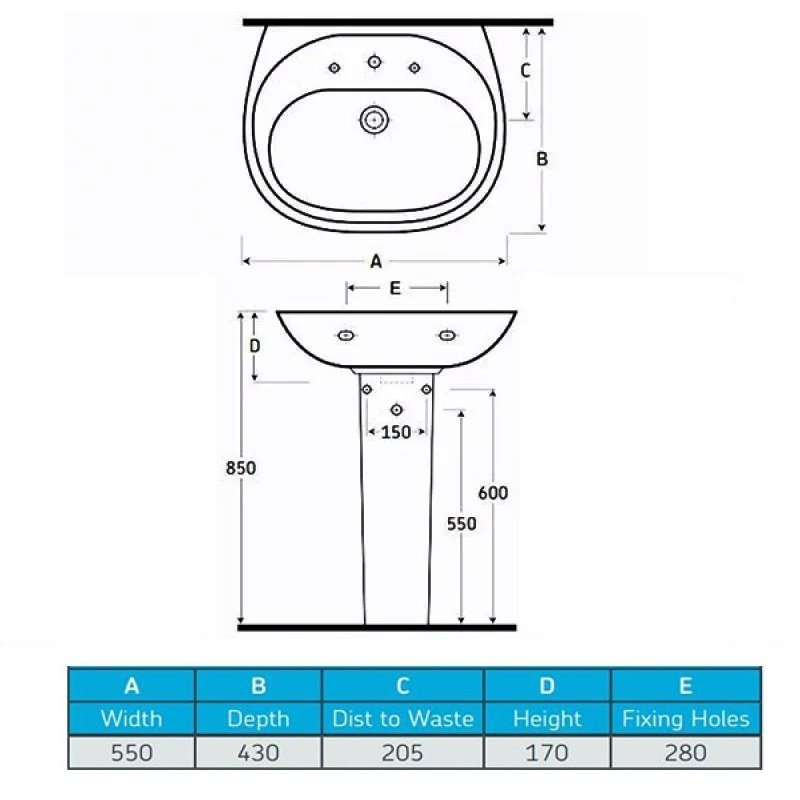 AKW Livenza 550mm Basin With Full Pedestal - 1 Tap Hole