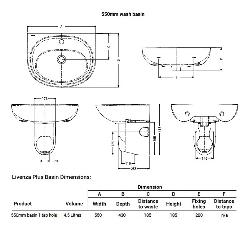 AKW Livenza Plus Basin with Semi Pedestal 550mm Wide - 1 Tap Hole