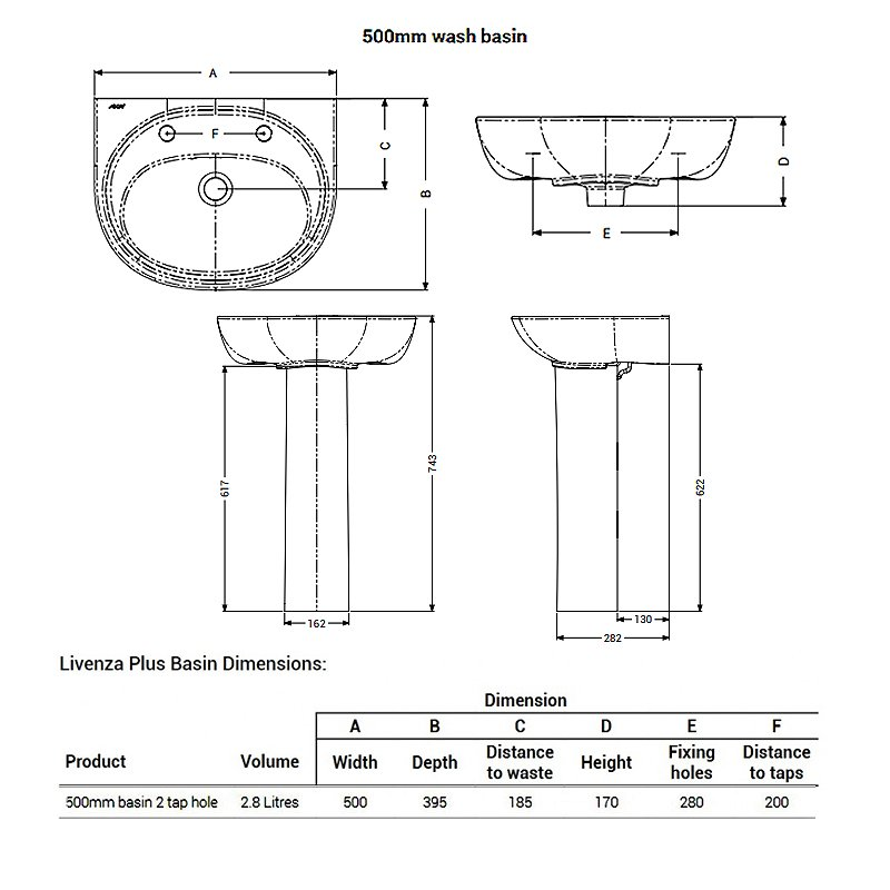 AKW Livenza Plus Basin with Full Pedestal 500mm Wide - 2 Tap Hole