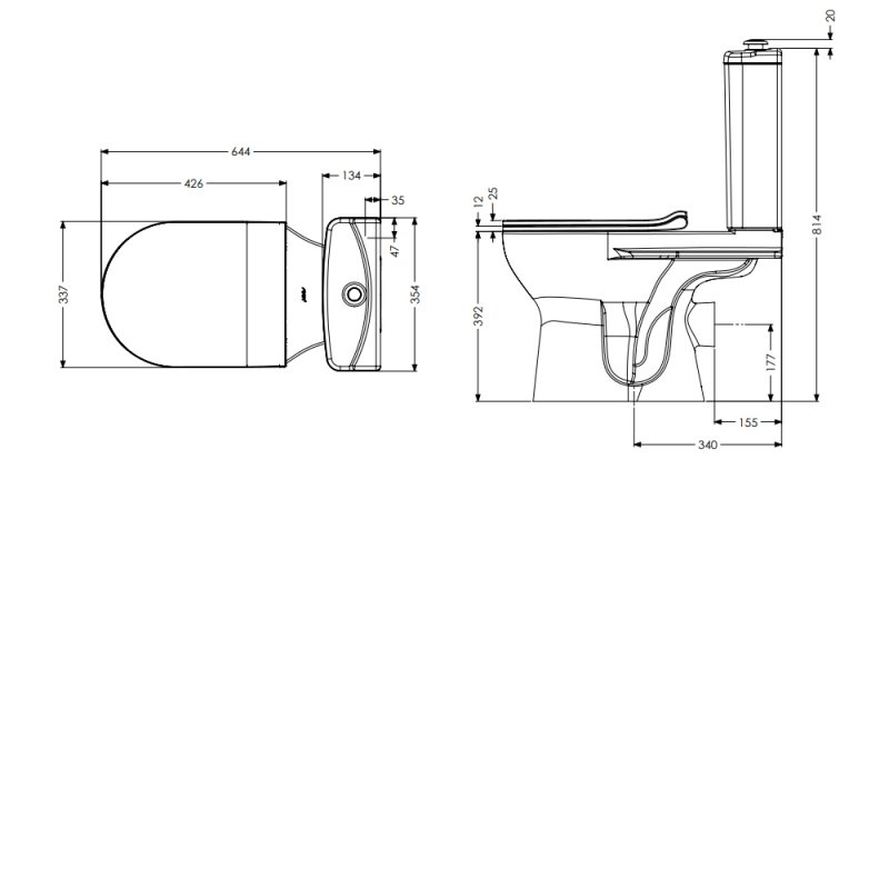 AKW Livenza Plus Close Coupled Toilet with Raised Push Button Cistern - Carbamide Soft Close Seat