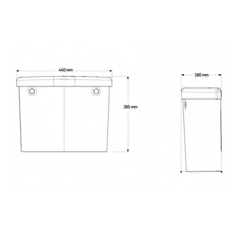 AKW Low Level Cistern with Screw Down Lid Flush Pipe and Lever Handle