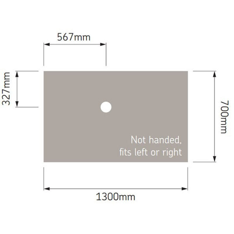 AKW Low Profile Rectangular Shower Tray, 1300mm x 700mm, Non-Handed