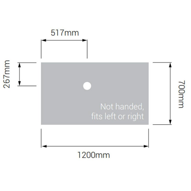 AKW Low Profile Rectangular Shower Tray with Gravity Waste 1200mm x 700mm