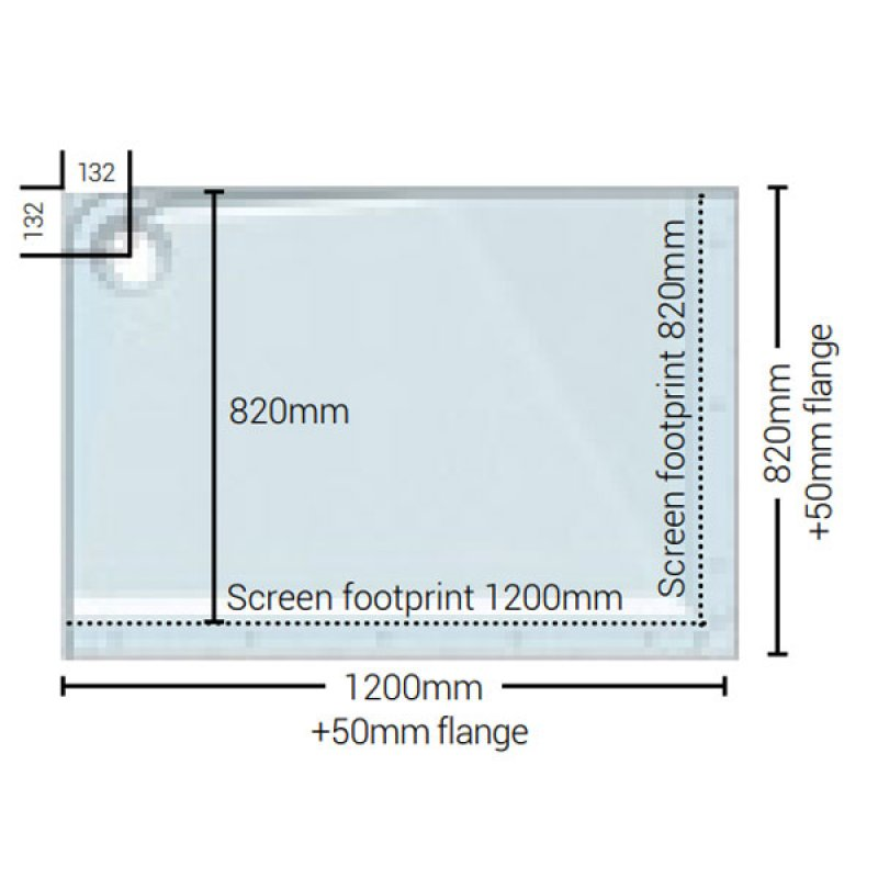 AKW Mullen Rectangular Shower Tray with Gravity Waste 1200mm x 820mm - Right Handed