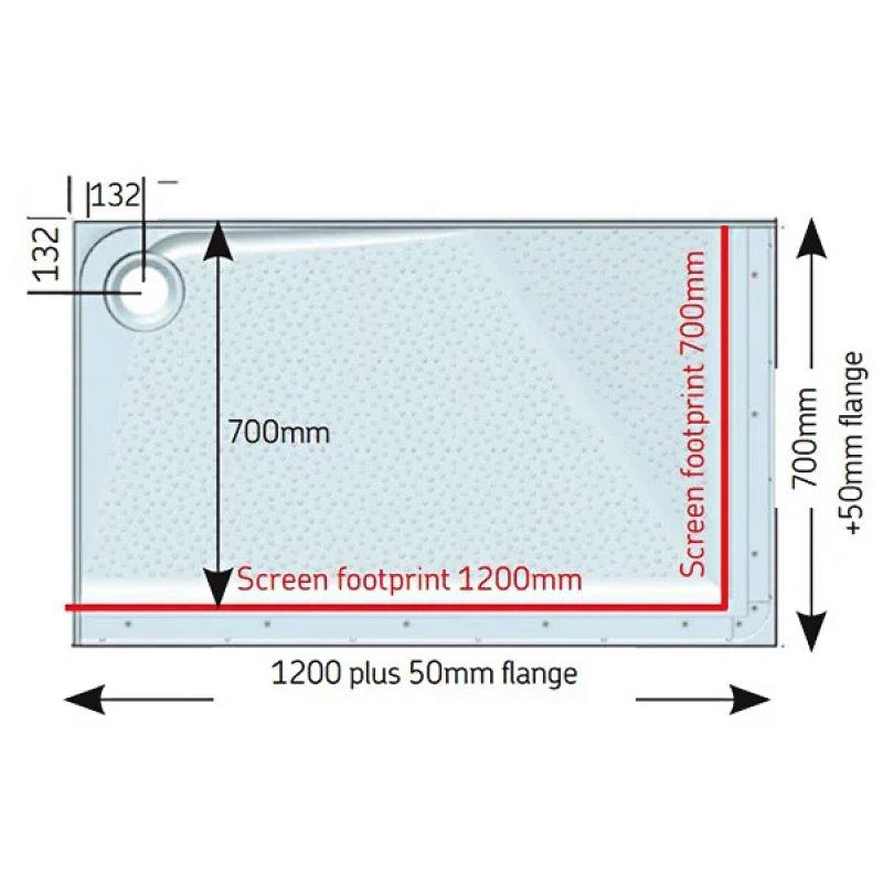 AKW Mullen Rectangular Shower Tray, 1200mm x 700mm, Right Handed