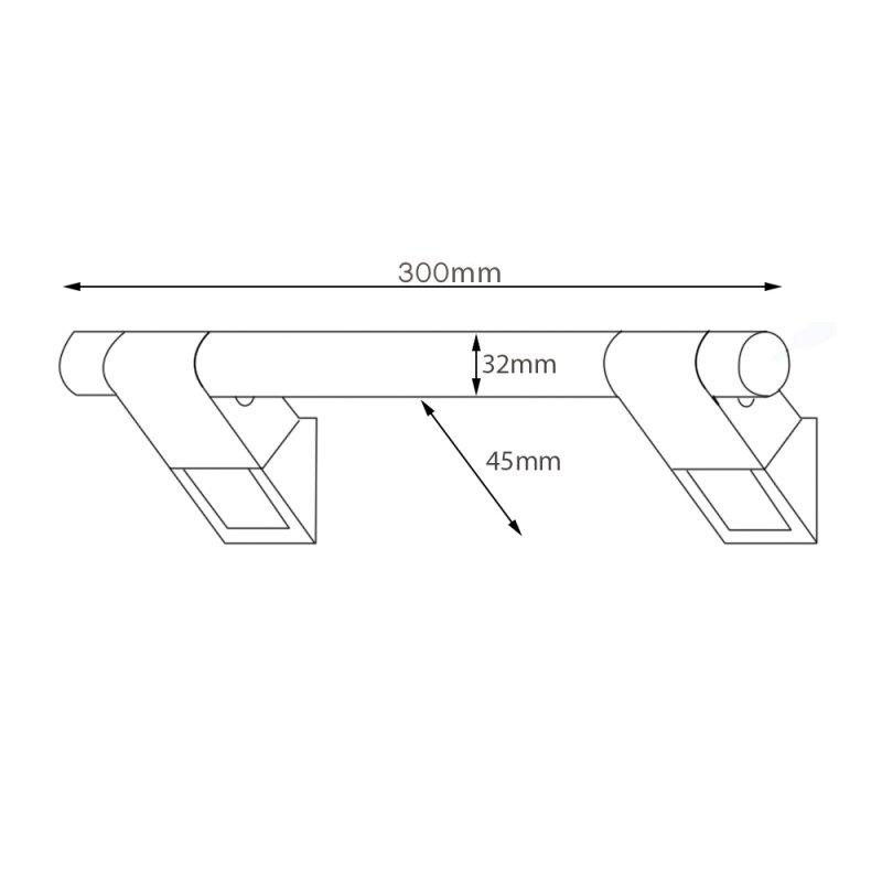 AKW Onyx 45 Straight Grab Rail 300mm Length - Black